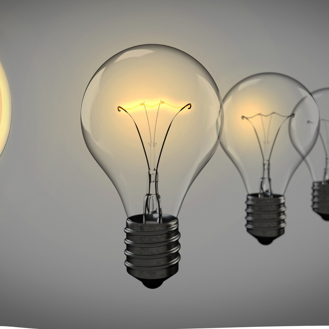 image of lightbulbs on grey background