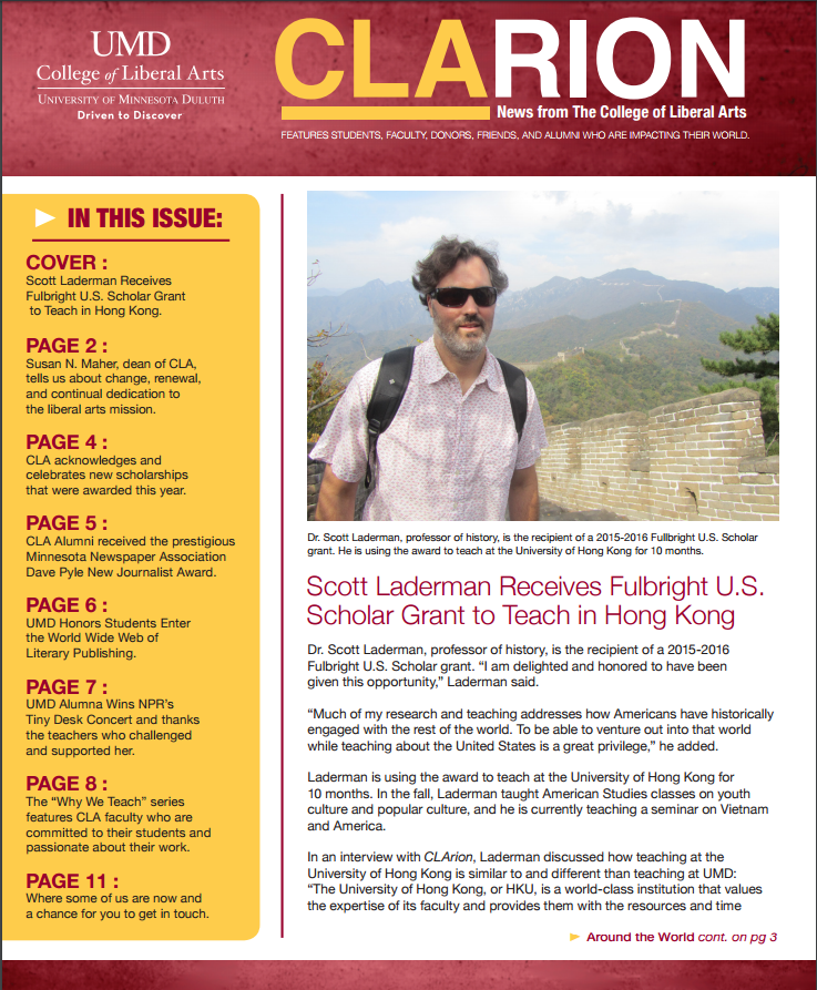 Image of the CLArion Newsletter front page