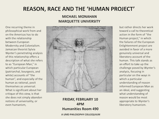 Poster with DaVinci's Vitruvian Man -- a line drawing of long haired man with arms and legs rendered twice each -- and the details of Michael Monahan's talk which are present in main text of the webpage.