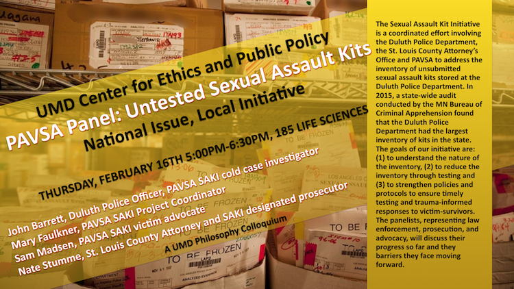 Poster detailing the event described on this webpage includes a background image of untested sexual assault kits.