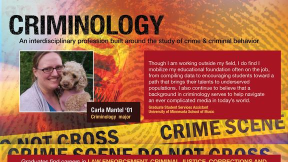 maroon and gold background featuring fingerprint imprint and a photo of woman with her dog