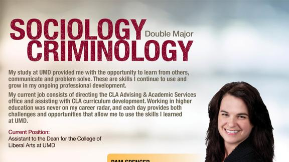 "light colored blurred background with maroon text ""Sociology Criminology double major"" and photo of a Pam Spencer"