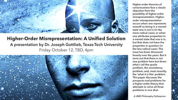 Poster advertising talk by Joseph Gottlieb on theories of consciousness.  Features an d image of a face in a blue star spectacled background and the upper half of the face/head is smaller and has a prominent star in the center of the forehead.