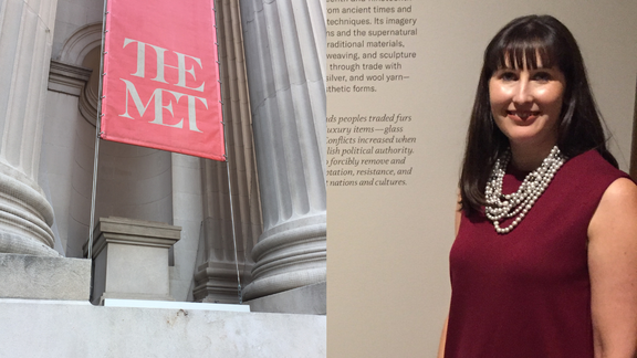 photo of the MET museum next to photo of woman