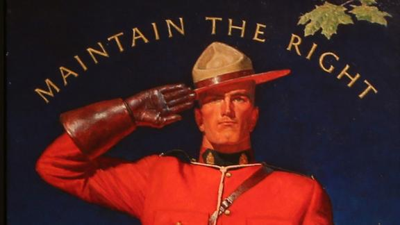 "torso and head part of a mountie dressed in red uniform, saluting with slogan ""maintain the right"" above his head"