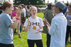 Students at Bulldog Scramble in August.