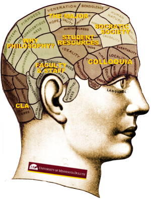 Philosophy Logo pictures Phrenology head altered to include references to college concerns.