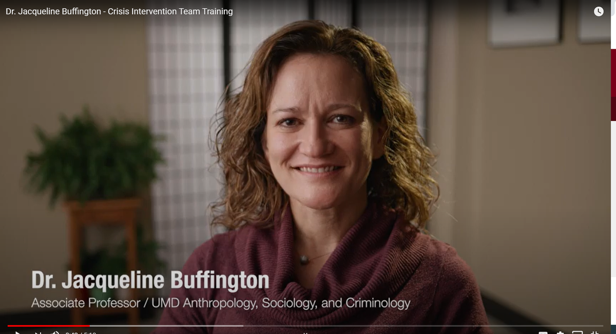 you tube screen shot of Dr. Jacqueline Buffington Associate Professor