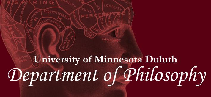 "Phrenology Head on Maroon Background with text reading ""University of Minnesota Duluth - Department of Philosohpy"""
