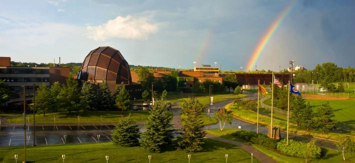 Image of Webber Music Hall in the horizon