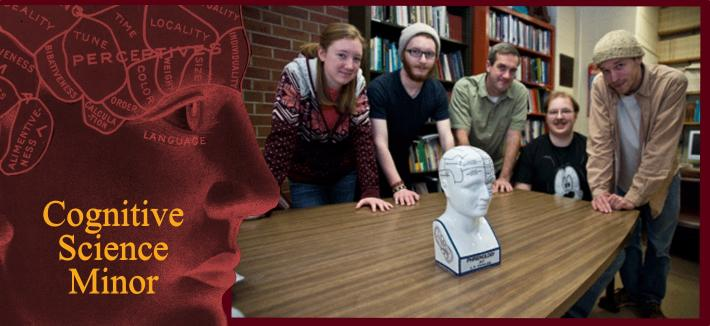 "Image of one woman and five men gathered at a table around a phrenology head framed by a phrenology head in a red motif and the words ""Introduction to Cognitive Science."""