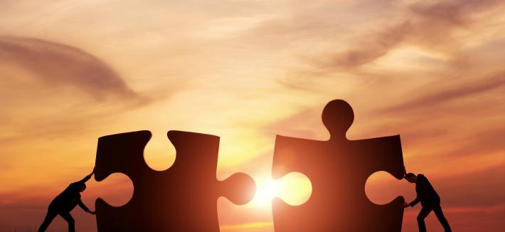 puzzle pieces sunset photo