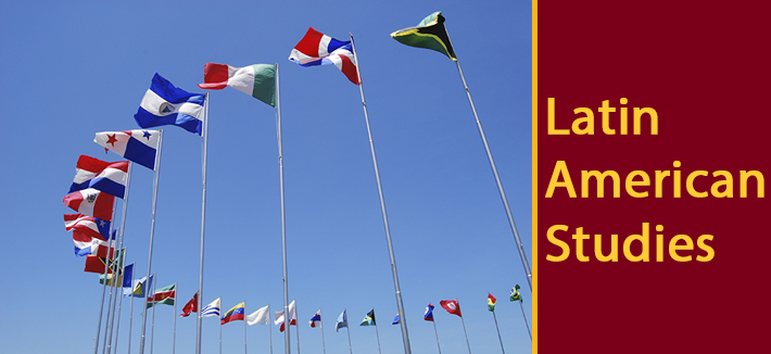 Image of Many flag poles with flags of Latin American Nations -Latin American
