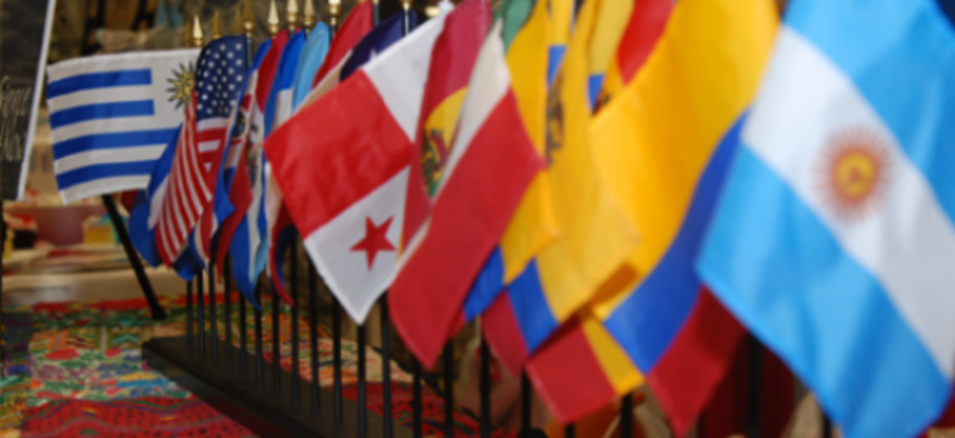 Image with flags of many Hispanic Nations- Spanish Programs
