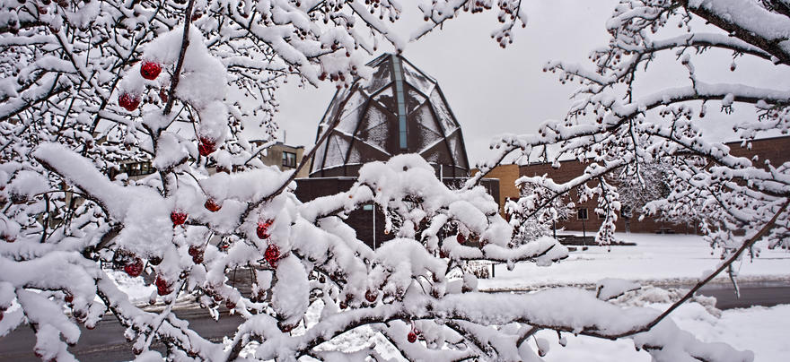 Weber Music Hall in snow