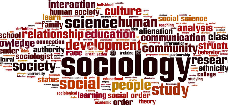 word cloud with sociology in the center