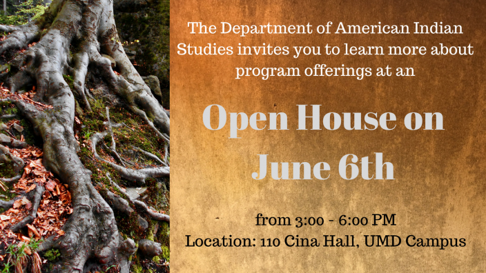 photo of tree roots and open house announcement
