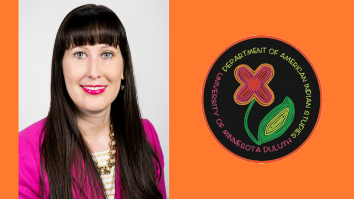 photo of dr. jill doerfler with orange background and image of AIS logo