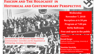 event poster black and white photo of nazi germany with red text advertising the event.