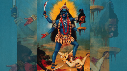 blue painting of goddess kali standing on man, tongue out, holding a severed head.