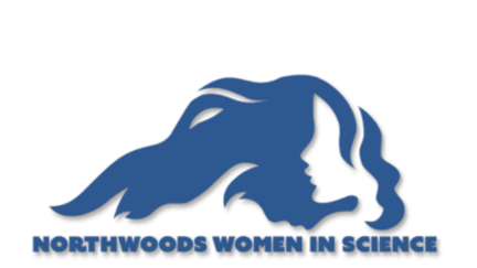 blue outline image of lake superior with a woman's face and hair and text that reads northwoods women in science