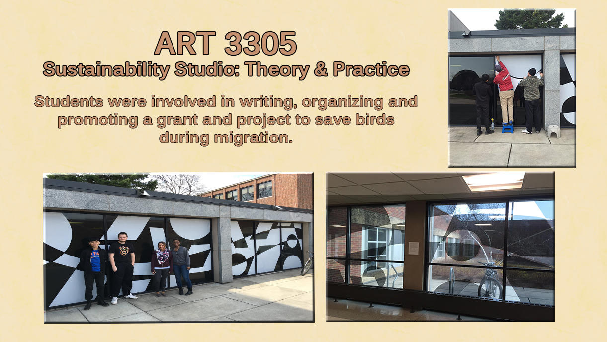 Picture collage of students installing window cling