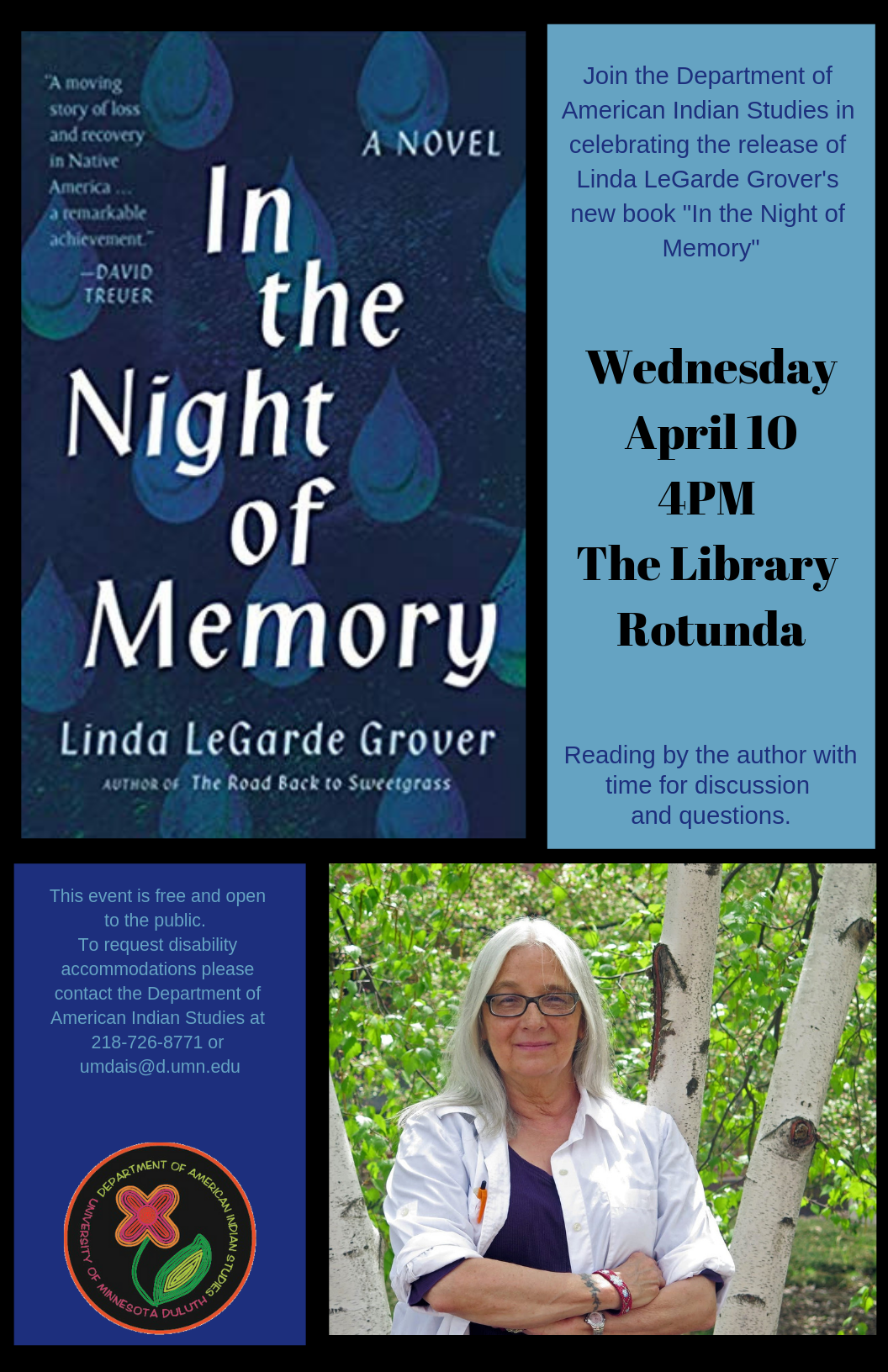 poster image with book cover, text, and photo of author