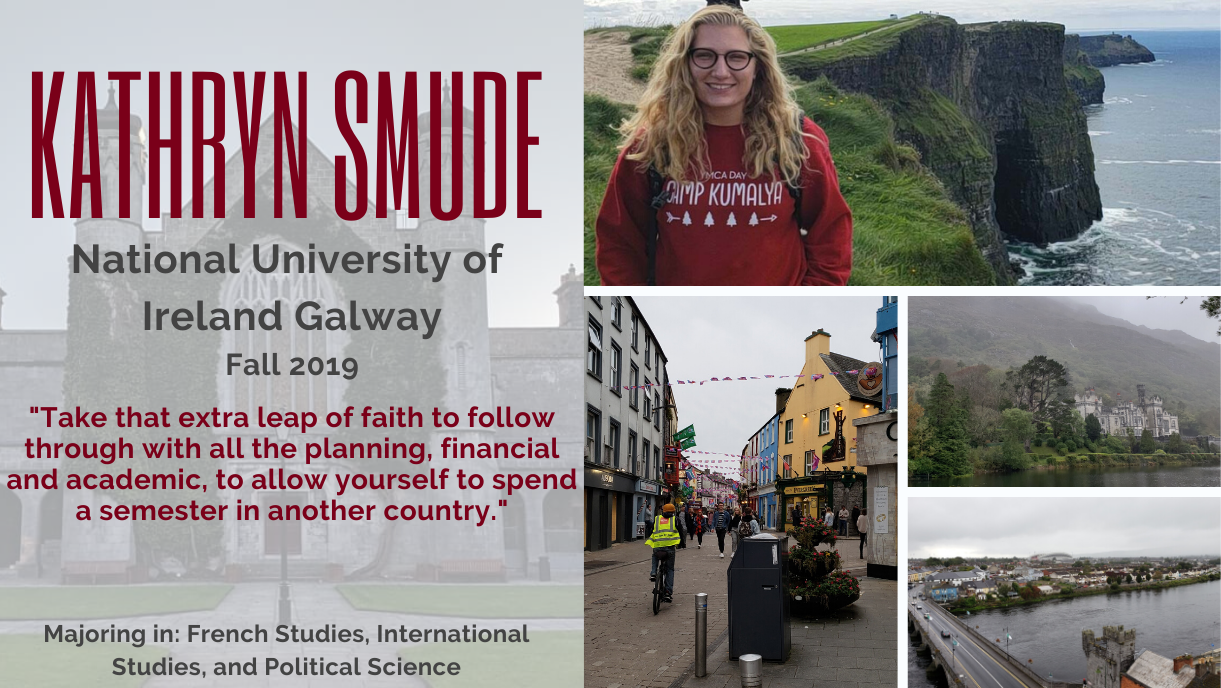 Kathryn Smude study abroad in Ireland Fall 2019