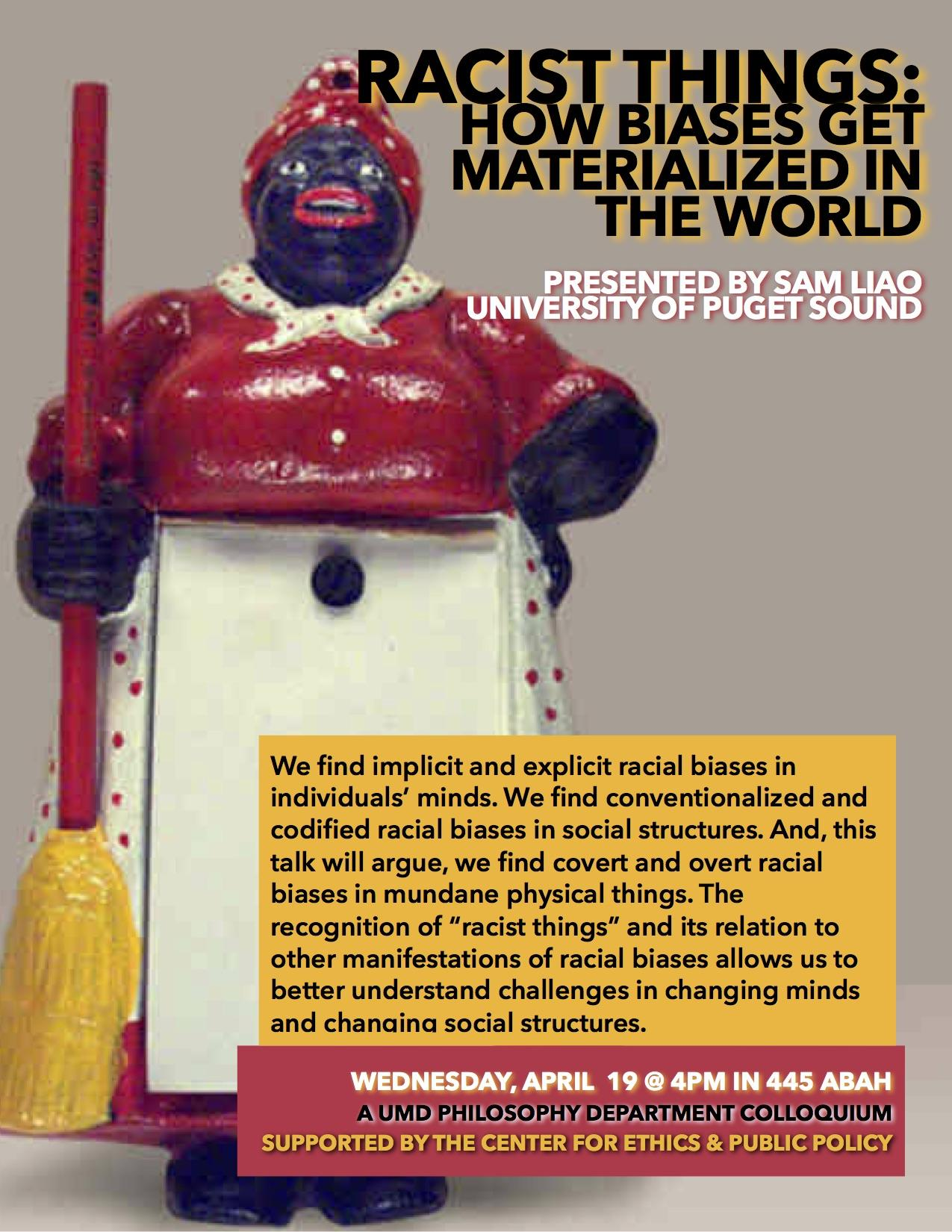 Poster for Talk by Sam Liao depicting a Mammy Figurine: Dark-skinned black woman, in red dress and apron, carrying a broom.