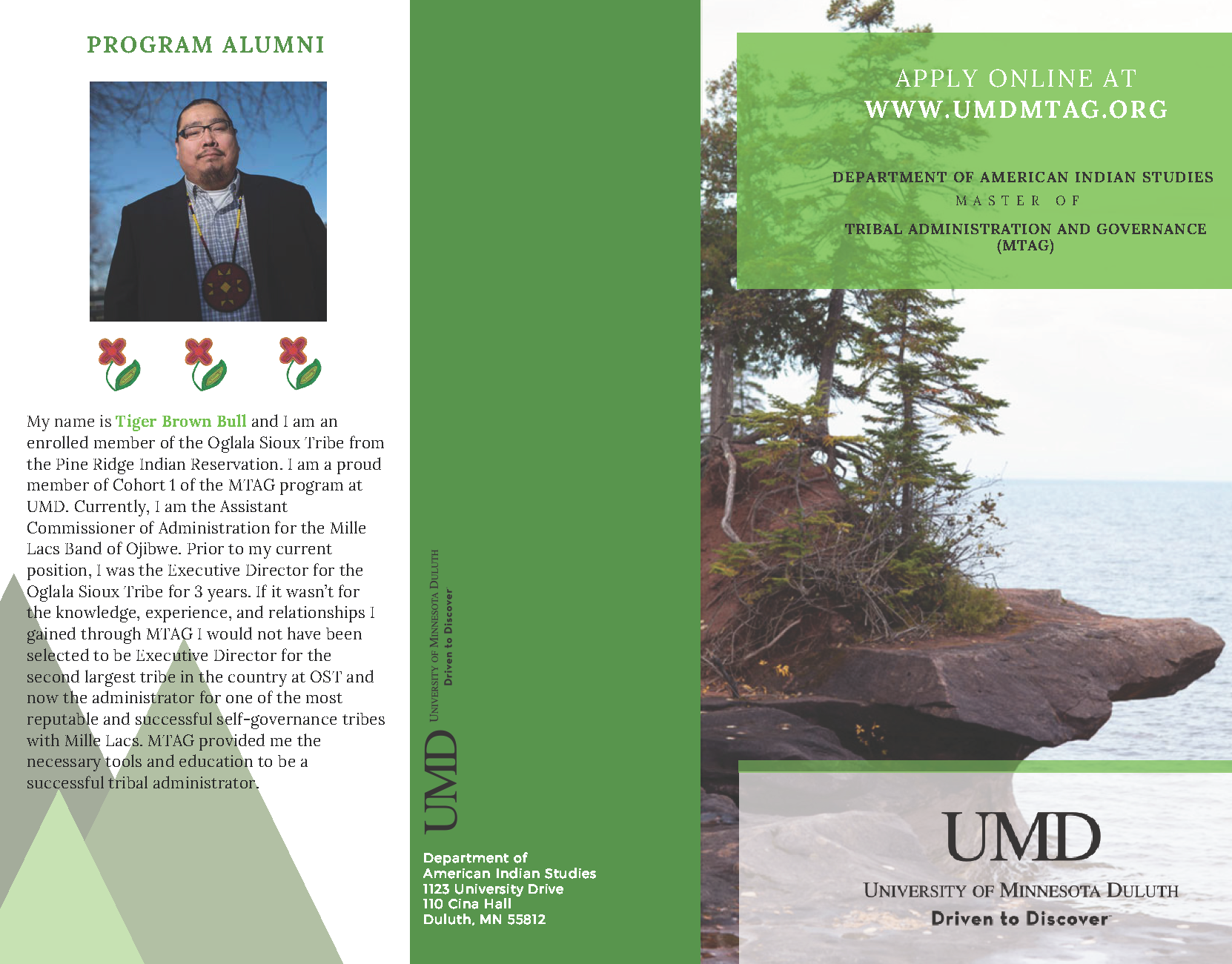 brochure page one with photo of trees on lake superior and text