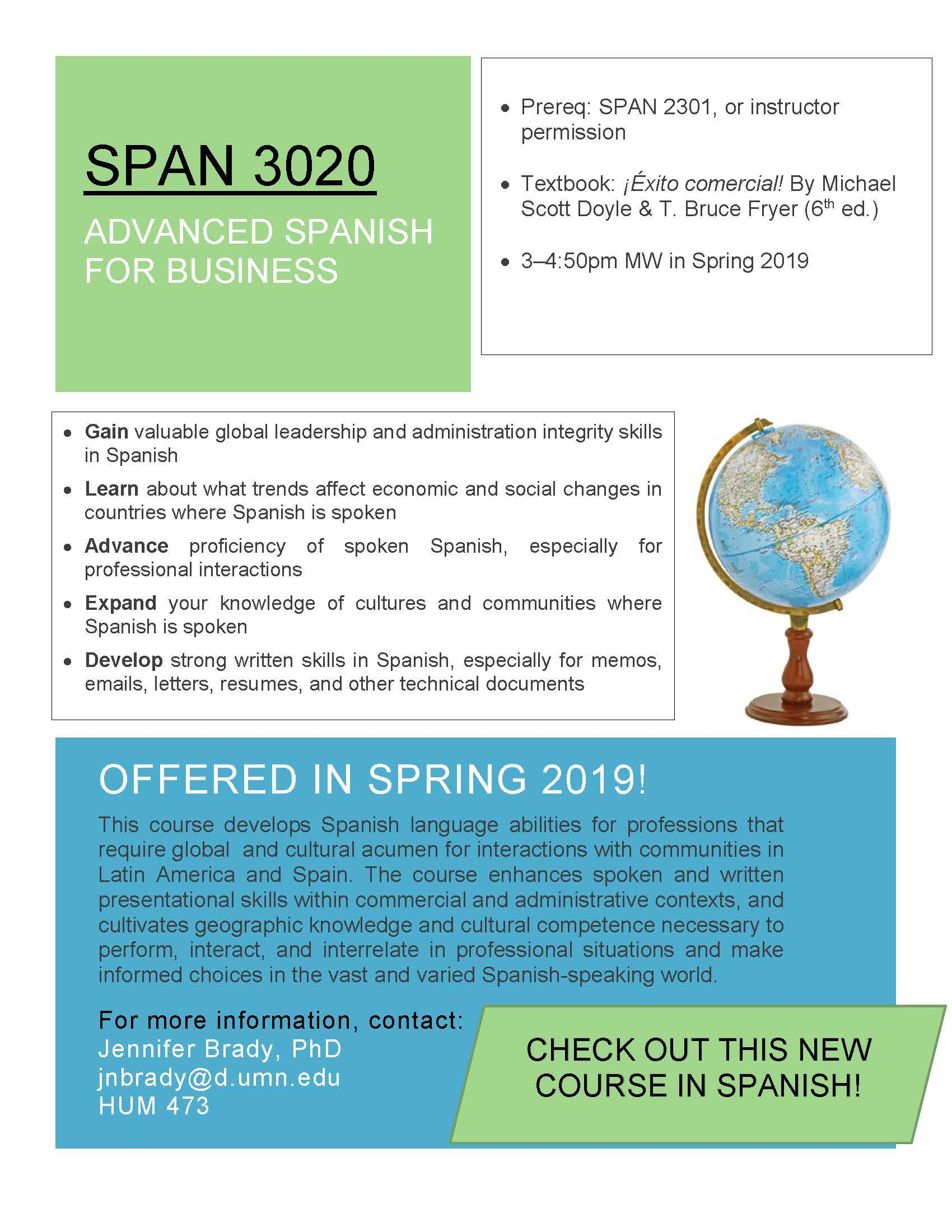 Advanced Spanish for Business course