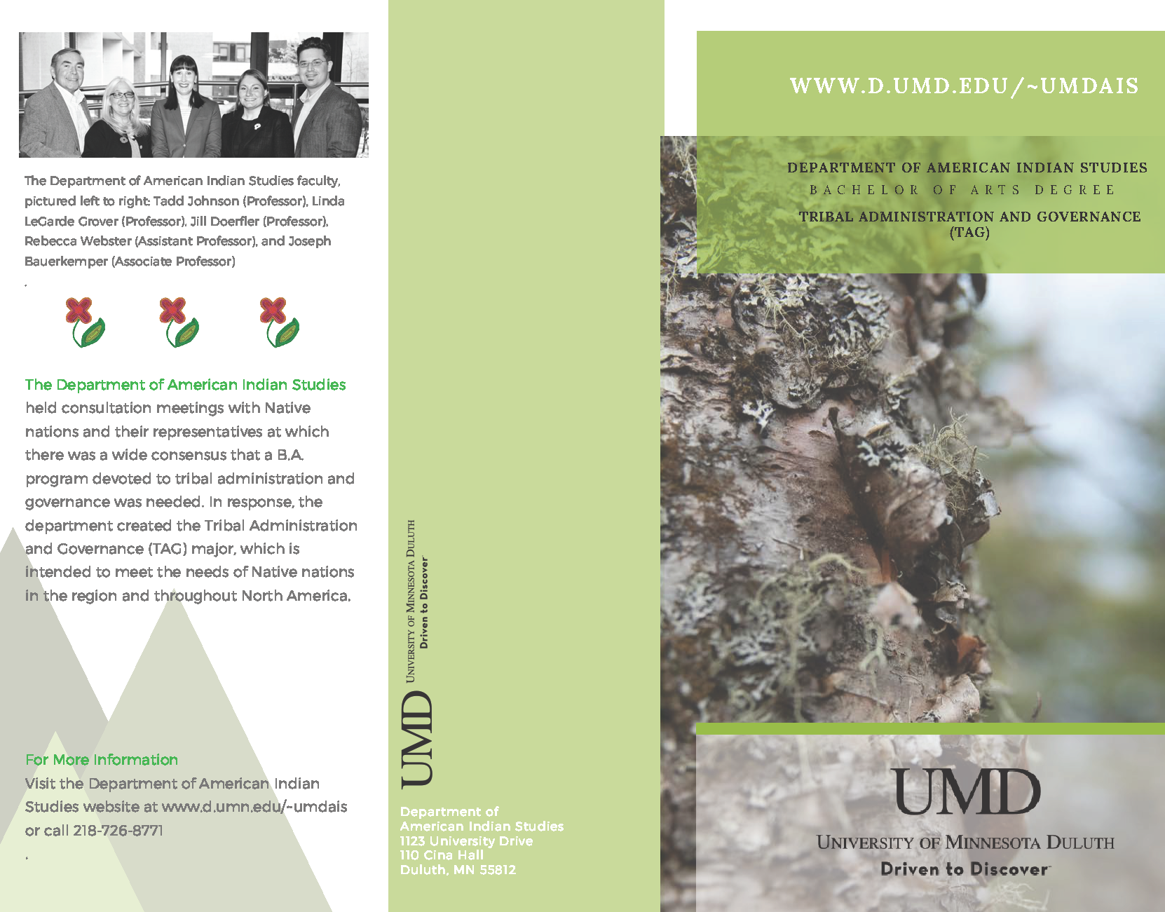 brochure page with photo of bark and text about the tribal administration & governance page