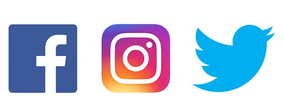 Facebook, Instagram, and Twitter icons