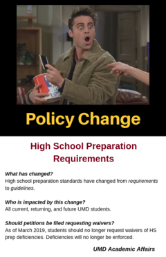HS Prep Requirement Policy change, March 2019.