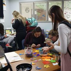 Students doing activities in our office