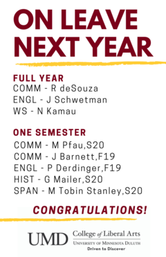 Faculty on leave next year (2019-20)