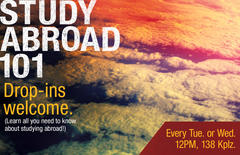 Study Abroad drop-in times: every T or W at noon in 138 KPlz