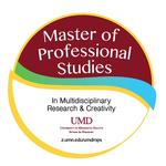 circular image with Master of Professional Studies text in maroon and gold color scheme