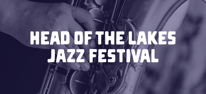 Head of the Lakes Jazz Festival text with close up of jazz instrument