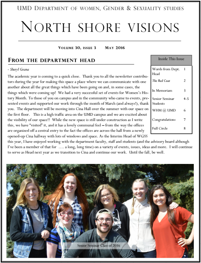 Screenshot of WGSS Newsletter: PDF attached